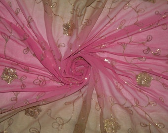 Vintage Dupatta Long Indian Scarf Women Wrap Embroidered Craft Dress Fabric Veil Pink Stole SD2318