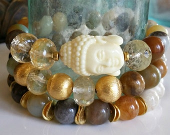 Riverstone and Amazonite Stacking Bracelet with 22K Gold Vermeil Beads, Boho Preppy