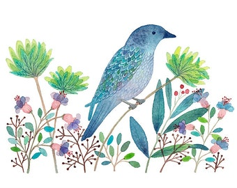 Blue Bird and green flowers, reproduction of art watercolor, spray, 20 x 30 cm