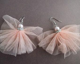 Pink Blush Tulle Ballet Ballerina Bling Statement Earrings