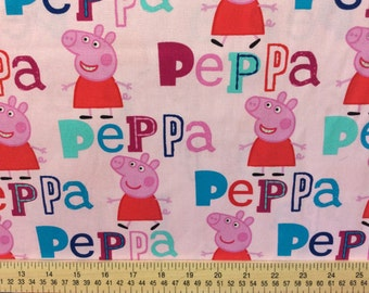 Peppa Pig Fabric /Cotton Fabric /Sold by the Yard/ Yardage Available