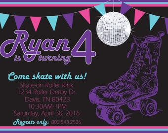 Rollerskate Birthday Party Invitation