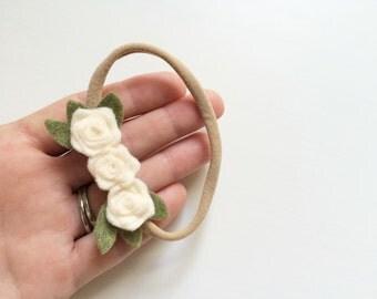 Mini rosette bunch headband - ivory - newborn