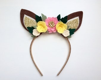 Felt Deer Fawn Ear headband - ivory, pink and yellow flowers with glitter gold and green leaves
