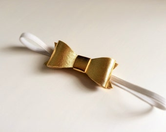 "Gold ""Susan"" bow headband - alligator clip - christmas -party"
