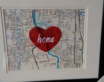 HOME on a map -- 8.5X11 Print only