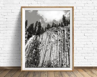 "nature photography, large art, printable art, instant download printable art, black and white, digital download, gray, art -""Palisade Falls"""