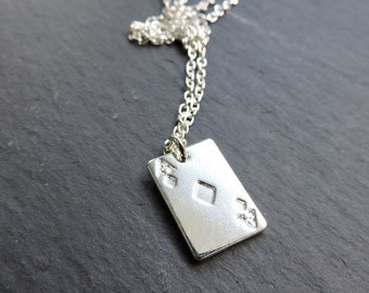 Silver playing card pendant - poker card charm, Ace of diamonds pendant - lucky charm silver necklace