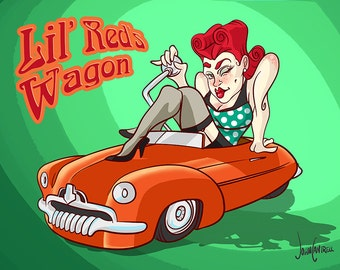 Lil' Red's Wagon, Hot Rod Pinup, Digital Illustration