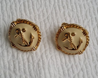 Vintage Gold Tone Ivory Enamel Anchor Clip On Earrings