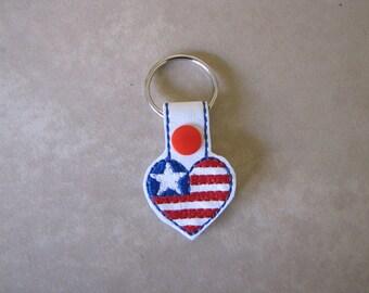 American Flag Heart Key Fob