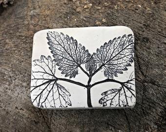 Black and White Leaf Imprint Refrigerator Magnet