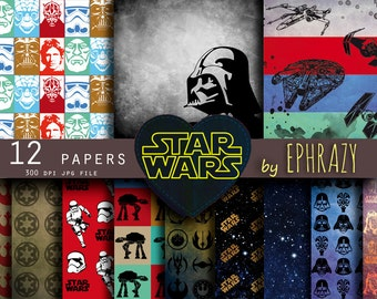 30% OFF AND MORE. Star wars. Star wars art. Star wars digital paper. Star wars paper. Star wars background. Darth vader paper. R2d2. Falcon.
