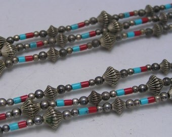 Tribal Beaded Necklace . Southwestern jewelry