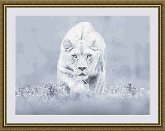 Lioness, Cross Stitch Pattern in PDF for Instant Download