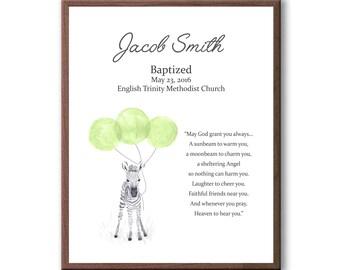Animal Art For Baptism, Baptism Gift For Godson, Gift From Godparents, Baby Baptism