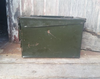 Ammunition box, metal army green ammo box, vintage ammo box