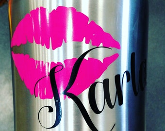 Personalized kiss cup decal