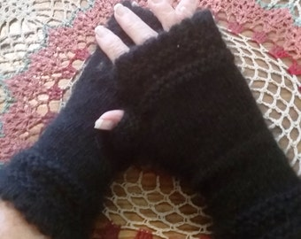 Luxury mink and cashmere fingerless gloves