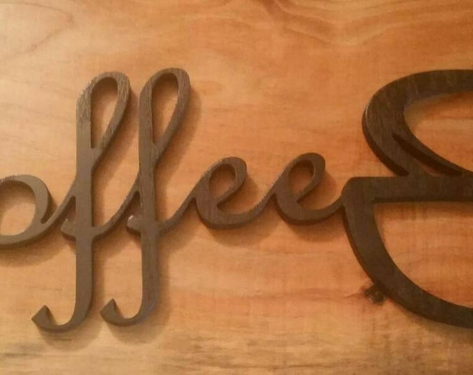 Hand Made ~ Wooden  ~  Coffee Sign with Steaming Coffee Cup