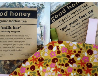 New Mum Support Hamper - organic herbal tea & organic chew cloth