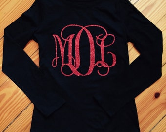 Girls monogramed glitter ~long sleeve shirt~