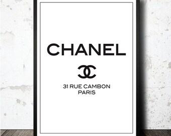 Chanel 31 Rue Cambon Paris printable artwork in A4 size. Lámina decorativa Chanel Paris imprimible en tamaño A4. Printable wallart chanel