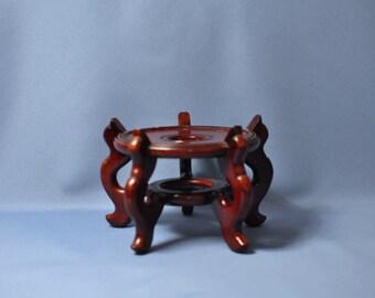 "Fine old Chinese rosewood vase planter vase stand base 5 1/2"" DSC_00817"