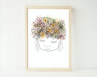 Watercolour girl with daisy flower crown artwork print up to extra large A1