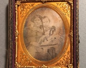 Daguerreotype of Mother and Daughter - Authentic Antique Photo