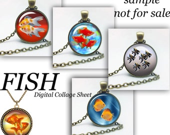 "Fish Digital Collage Sheet for Glass Dome Pendants Bottle Caps cabochon clipart Magnets Digital Images for Jewelry fish Images 1.5"" 1"""