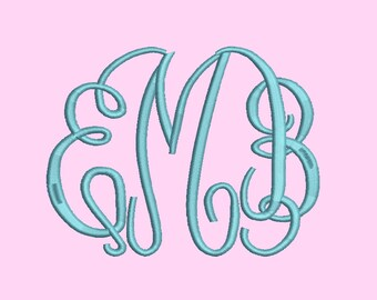 3 Size Fancy monogram  Font Embroidery Designs, BX fonts Machine Embroidery Designs - 9 File Fomats - INSTANT DOWNLOAD