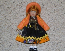 "Handmade 3 Piece HALLOWEEN DOLL OUTFIT Fits Kish Riley Doll or other 8"" Dolls!"