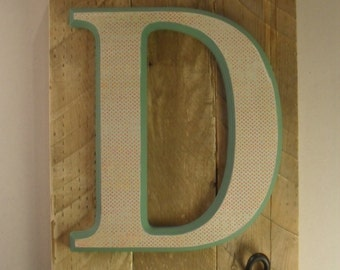 Initial on wood plaque with hooks – D