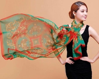 New Spring Summer Lightweight Women Lady Printed 100% Silk Large Shawl Colorful  Green And Red Floral Scarf.