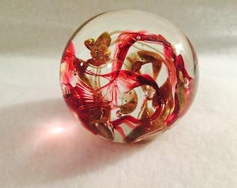 Vintage Handblown Glass Ball Paperweight