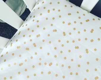 Metallic gold polka dot fitted crib sheet | gold dot baby bedding | confetti dots gender neutra nursery | scattered gold dots | gold bedding
