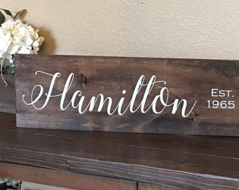 Family Name Sign, Rustic Family Sign, Last Name Sign, Family Established Sign, Family Name Wedding Present, Personalized Name Gift