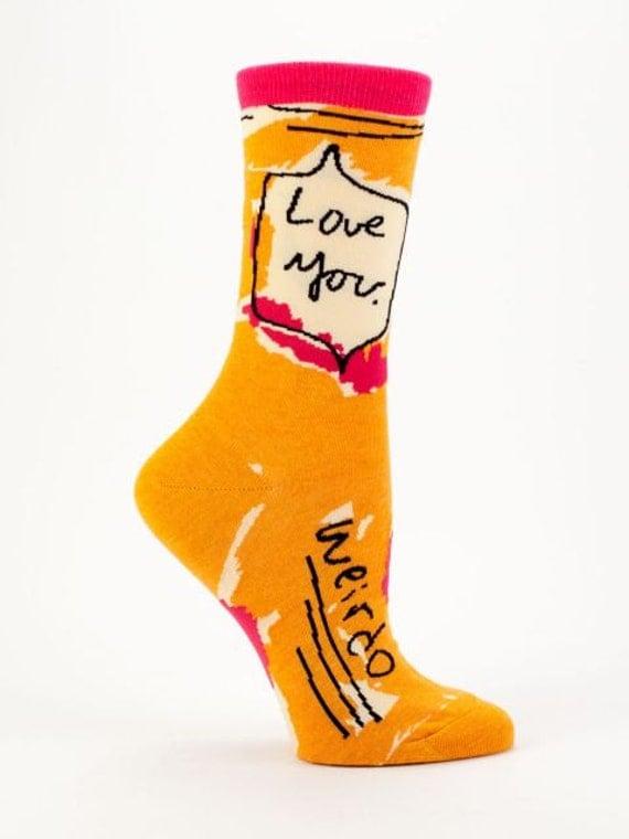Women's Crew Socks  - Love You Weirdo - Funny, Cool, Novelty Gifts, Christmas Gift