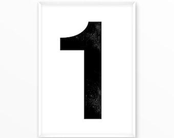 Number print 1, printable, 1-9 Poster, scandinavian design, nursery, printable, Typography, Poster, Inspirational Home Decor, wall art, gift