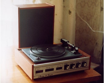 vintage retro audio turntable-record player akord 201 stereo 1974's.
