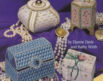 Treasure Boxes, American School of Needlework Plastic Canvas Pattern Booklet 3124