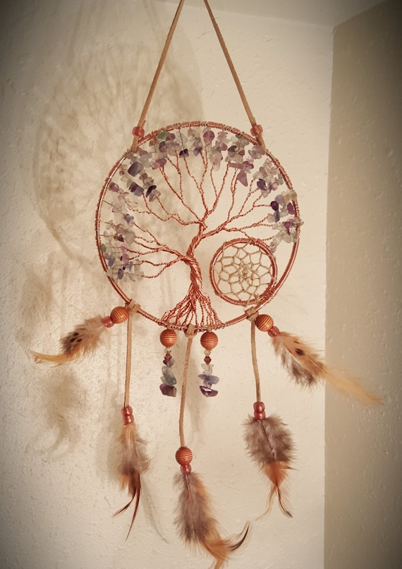 Tree Of Life Dream Catcher Hanging With Multi Fluorite Chips