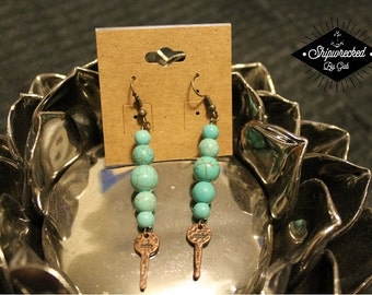 Handmade, Turquoise Earrings with copper key!