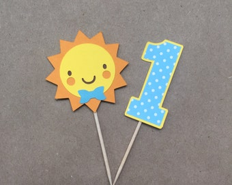 You Are My Sunshine Cupcake Picks in Blue, Set of 12, Party Picks, Cupcake Toppers, Cake Topper, Birthday Party, First Birthday, Baby Shower