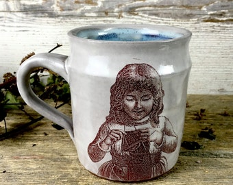 Handmade  ceramic mug for the knitter