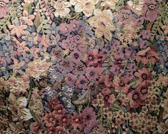 "Vintage TAPESTRY UPHOLSTERY fabric--Monet-like floral print--54"" wide--made in USA--priced by the yard"