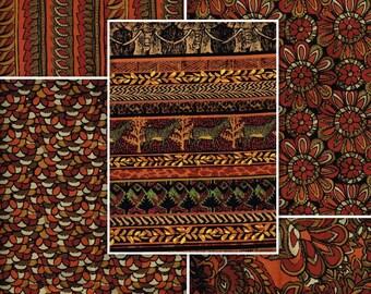 Tribal Print, Fat Quarter Bundle Of 5, FQB2803, 100% Cotton Fabric, Burnt Orange, Rust, Green, Black, Brown, Various Prints, Quilt, Crafts