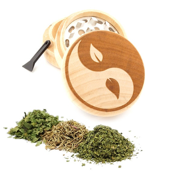 Yin Yang Engraved Premium Natural Wooden Grinder Item # PW050916-132