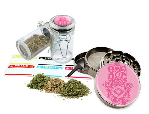 "Hamsa - 2.5"" Zinc Alloy Grinder & 75ml Locking Top Glass Jar Combo Gift Set Item # G123114-0013"